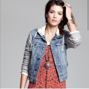 Free People Distressed Hooded Denim & Knit Jacket
